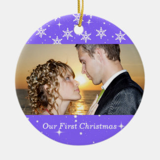 Our First Christmas Wedding Photo Ornament, Purple Round Ceramic Decoration