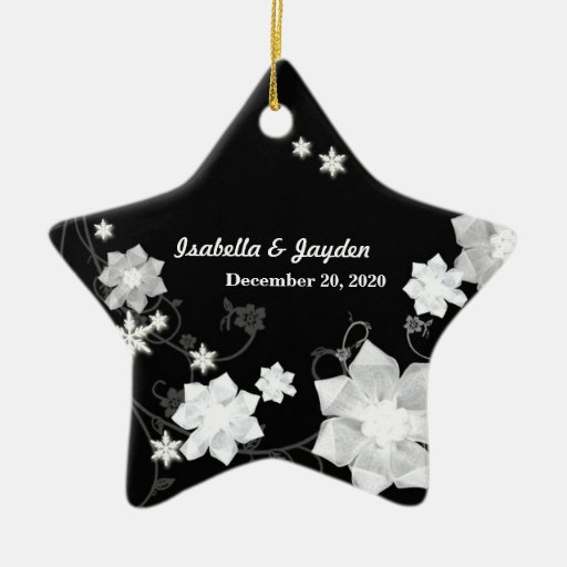 Our First Christmas Winter Wedding Couple Keepsake Christmas Tree Ornaments