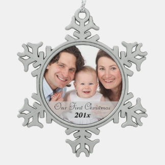 Our First Christmas with Date Snowflake Pewter Christmas Ornament