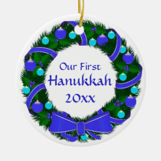 Our First Hanukkah Year Wreath Ornament