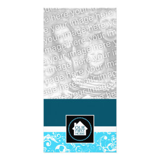 our first home (blue damask) custom photo card