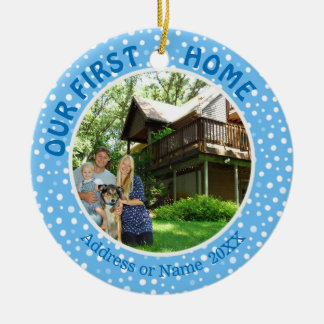Our First Home, Blue & White Dots, Two Photo Christmas Ornament