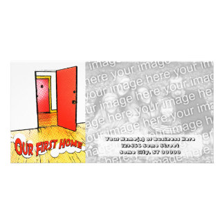 our first home comic door custom photo card