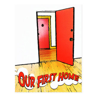 our first home comic door postcard