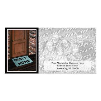our first home door mat custom photo card