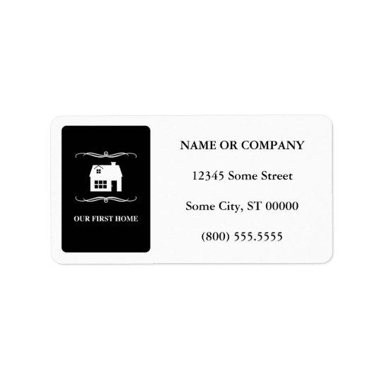 our first home (mod black and white) address label