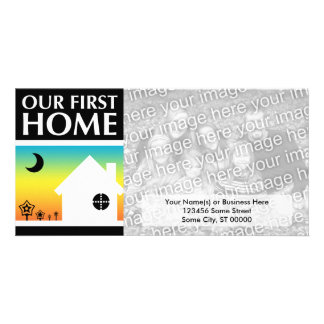 our first home (rainbow sunset) custom photo card