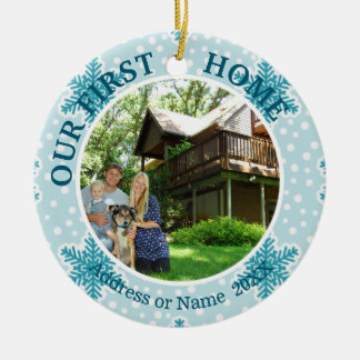 Our First Home, Teal & White Snowflakes, Two Photo Christmas Ornament