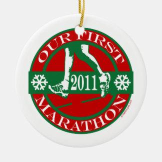 Our First Marathon Christmas Ornament