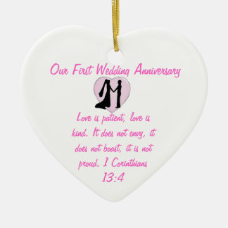 Our First Wedding Anniversary Heart Ornament