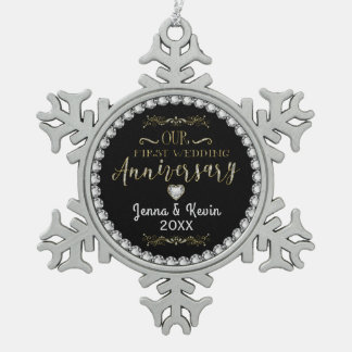 Our First Wedding Anniversary Pewter Snowflake Decoration