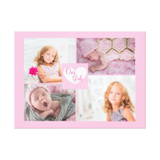 Our Girls Pink Photo Collage  Wrapped Canvas