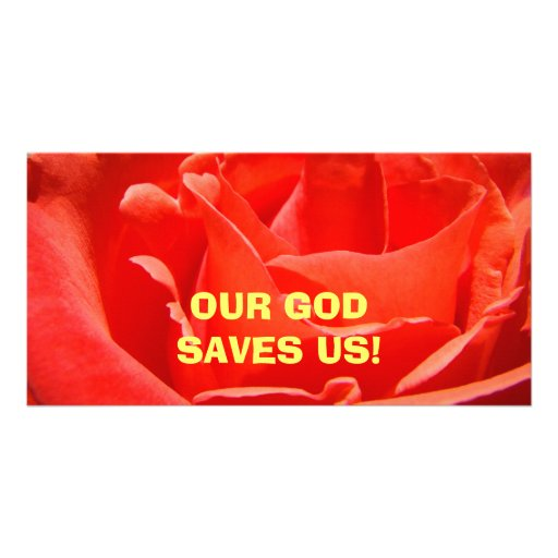 OUR GOD SAVES US! Photocards Red Rose Customized Photo Card