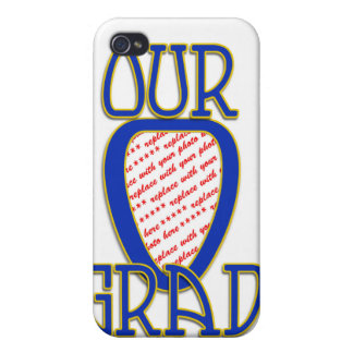 OUR GRAD Blue & Gold School Colors Frame Covers For iPhone 4