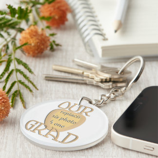 OUR GRAD - Gold Graduation Photo Frame Double-Sided Round Acrylic Key Ring