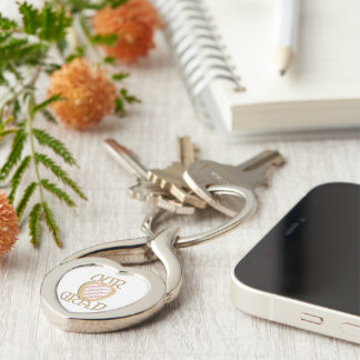 OUR GRAD - Gold Graduation Photo Frame Silver-Colored Twisted Heart Key Ring