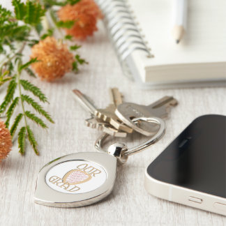 OUR GRAD - Gold Graduation Photo Frame Silver-Colored Swirl Key Ring