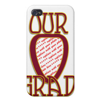 OUR GRAD Red & Gold School Colors Frame iPhone 4/4S Cases