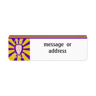 OUR GRAD School Colors Purple&Gold    'ZOOM' Frame Return Address Label