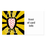 OUR GRAD School Colours Gold&Black  'ZOOM' Frame Pack Of Standard Business Cards