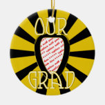 OUR GRAD School Colours Gold&Black  'ZOOM' Frame Christmas Tree Ornaments