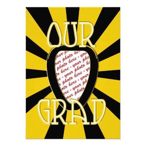 OUR GRAD School Colours Gold&Black  'ZOOM' Frame Personalized Invitation