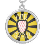 OUR GRAD School Colours Gold&Black  'ZOOM' Frame Personalised Necklace