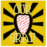 OUR GRAD School Colours Gold&Black  'ZOOM' Frame Acrylic Cut Outs