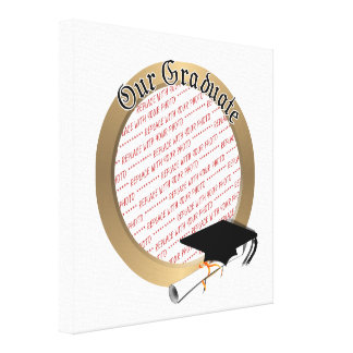 Our Graduate Graduation Cap w/Gold Frame Gallery Wrapped Canvas