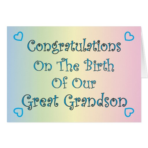 Our Great Grandson Greeting Card