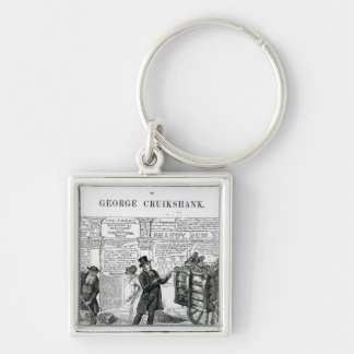 Our Gutter Children, 1869 Silver-Colored Square Key Ring