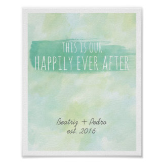 Our Happily Ever After Personalized Couple Emerald Poster