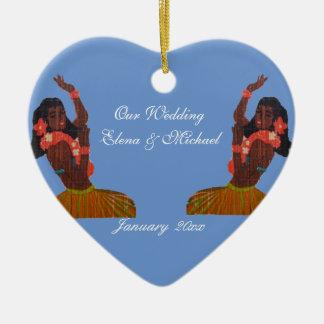 Our Hawaiian Wedding Heart in Sand Memento Ceramic Heart Decoration