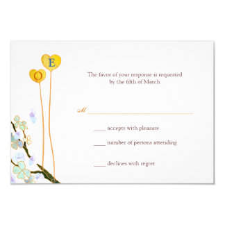 Our Hearts Together White Wedding RSVP (3.5x5) Custom Announcement Card
