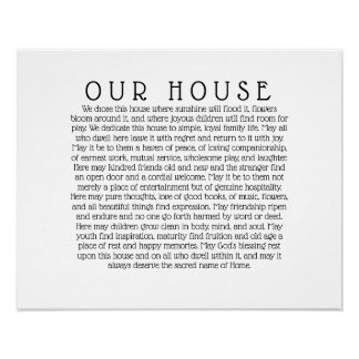 OUR HOUSE Quote Print