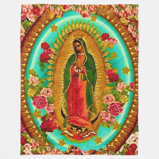 Our Lady Guadalupe Mexican Saint Virgin Mary Fleece Blanket