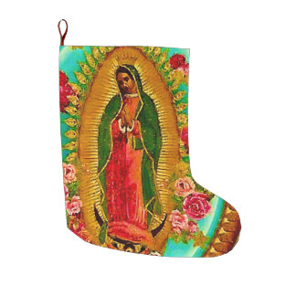 Our Lady Guadalupe Mexican Saint Virgin Mary Large Christmas Stocking