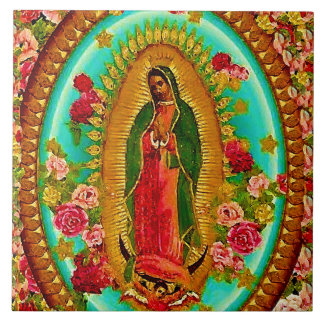 Our Lady Guadalupe Mexican Saint Virgin Mary Large Square Tile