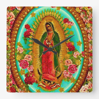 Our Lady Guadalupe Mexican Saint Virgin Mary Square Wall Clock