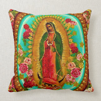 Our Lady Guadalupe Mexican Saint Virgin Mary Throw Pillow