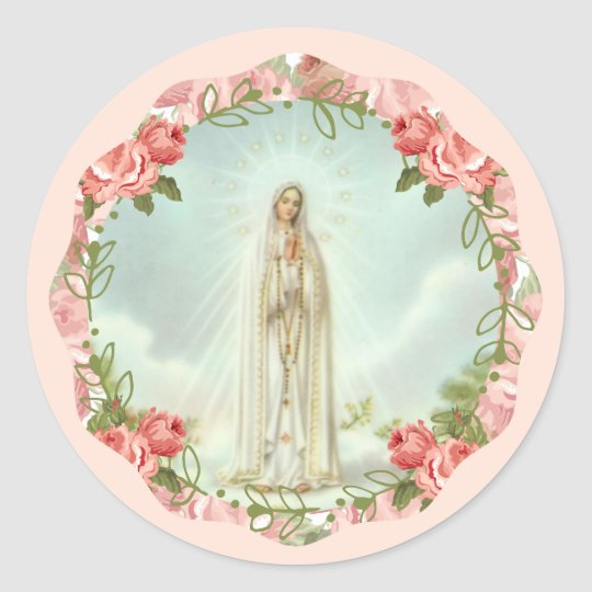 Our Lady of Fatima Pink Roses Classic Round