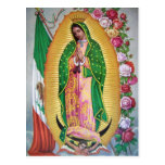 Our Lady of Guadalupe with Mexican Flag Postcard Post Card