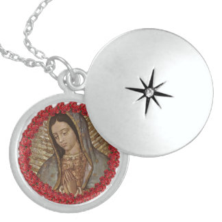 OUR LADY OF GUADALUPE WITH SPANISH ROSES ROUND LOCKET NECKLACE