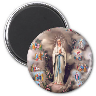 Our Lady of Lourdes 6 Cm Round Magnet