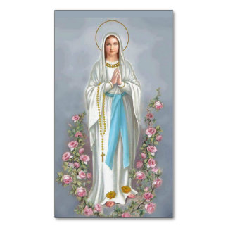 Our Lady of Lourdes Rosary Virgin Mary Roses Magnetic Business Cards