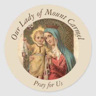 Our Lady of Mount Carmel  Baby Jesus Scapular Classic Round Sticker