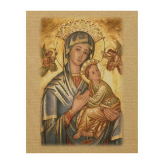 Our Lady of Perpetual Help Icon Wood Print