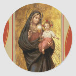 """Our Lady of the Blessed Sacrament with Baby Jesus Round Sticker"