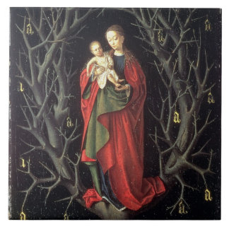 Our Lady of the Dry Tree c.1450 (oil on panel) Large Square Tile