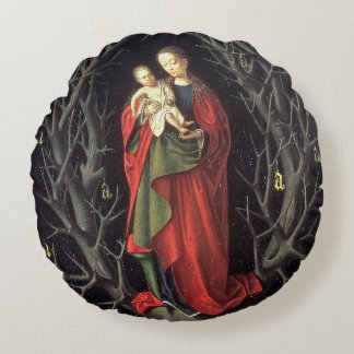Our Lady of the Dry Tree c.1450 (oil on panel) Round Pillow